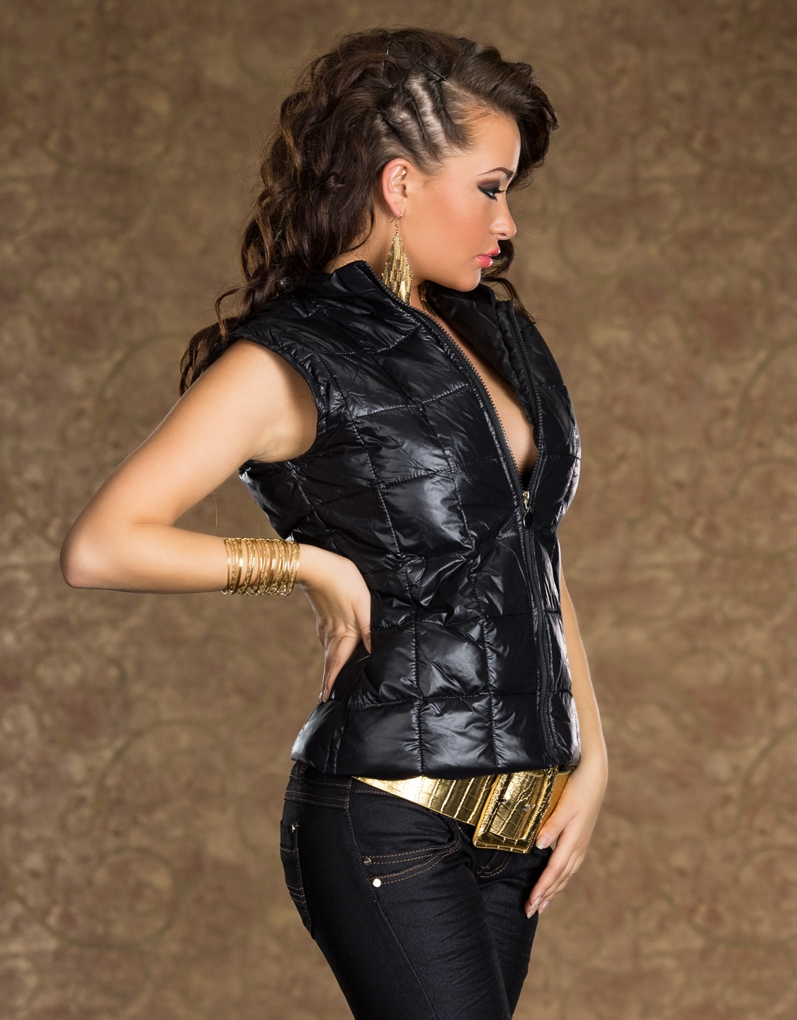 Black Swollen Zippered Vest