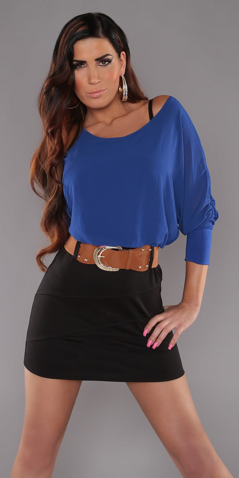 Blue Top Black Skirt Off-Shoulder Belted Dress