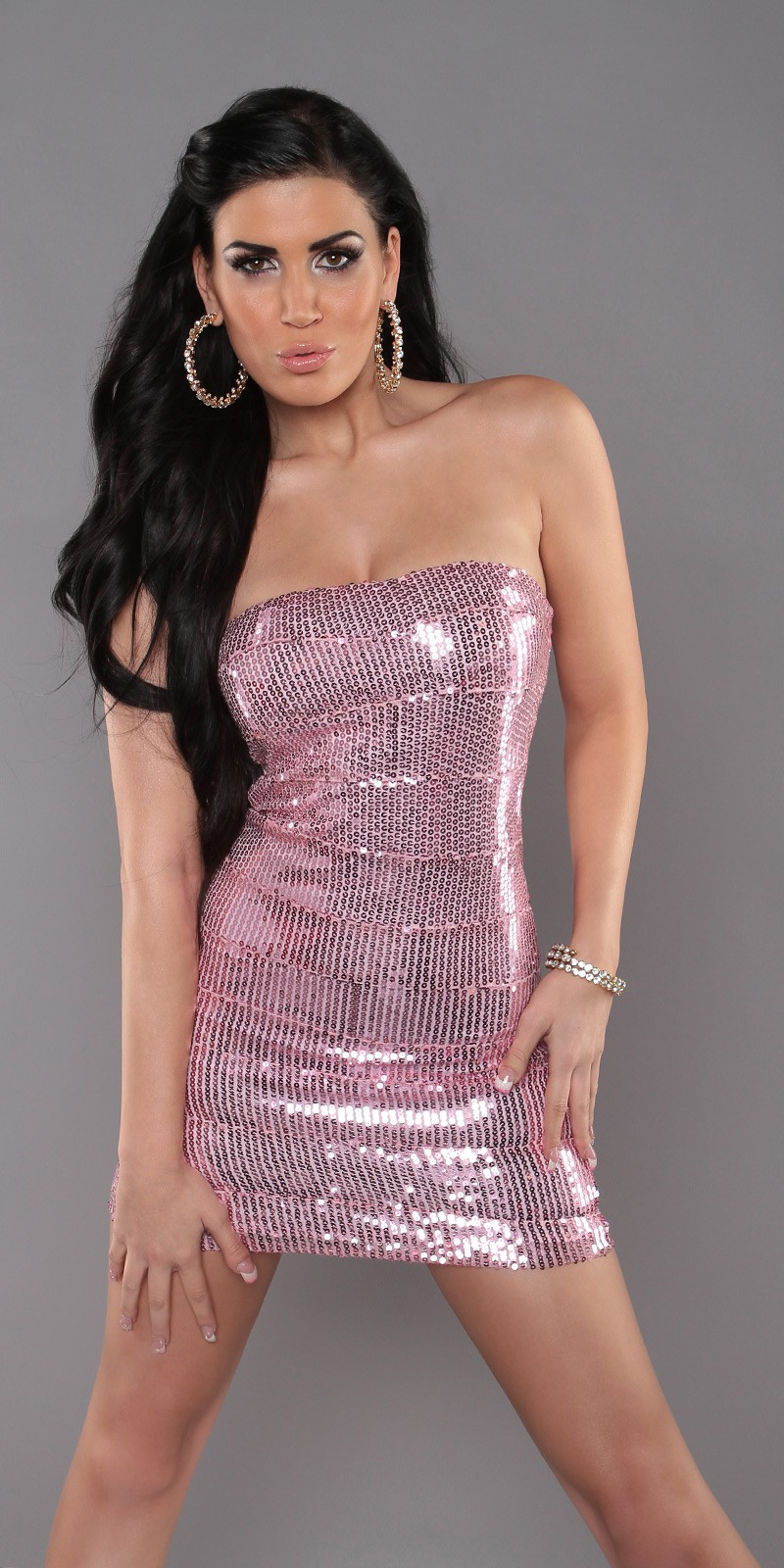 Pink Sequined Strapless Slinky Club Dress