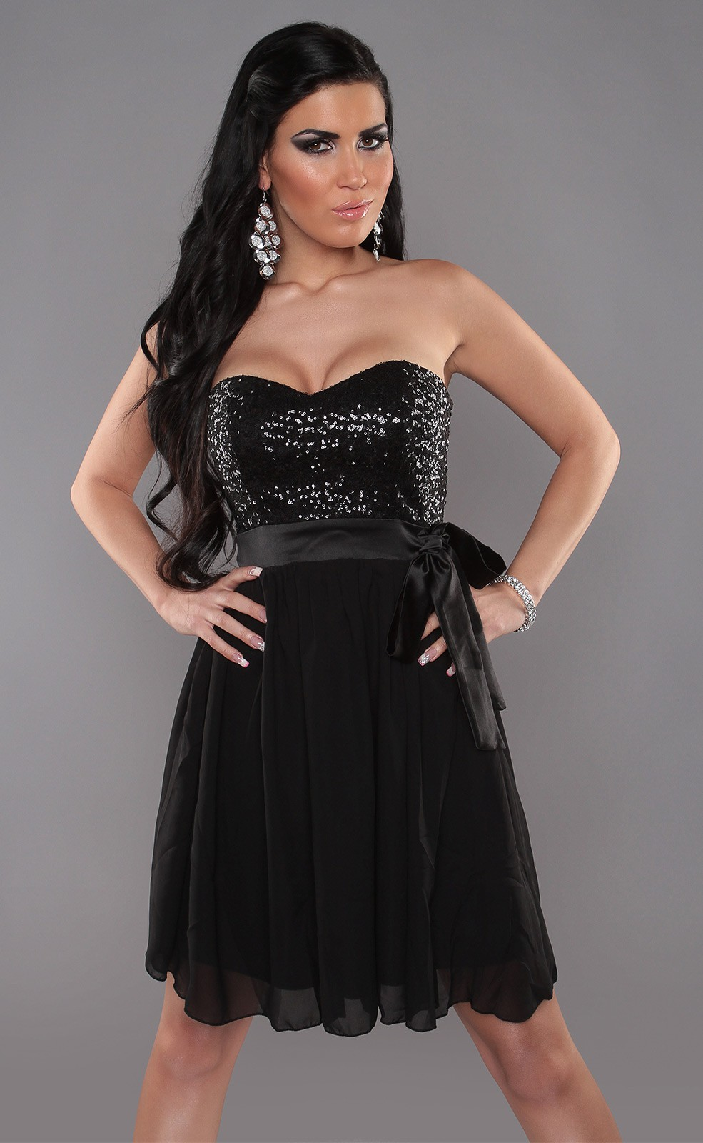 Black Sexy Bandeau Dress With Sequins And Loop