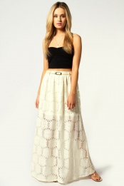 White Katie Belted Lace Maxi Skirt