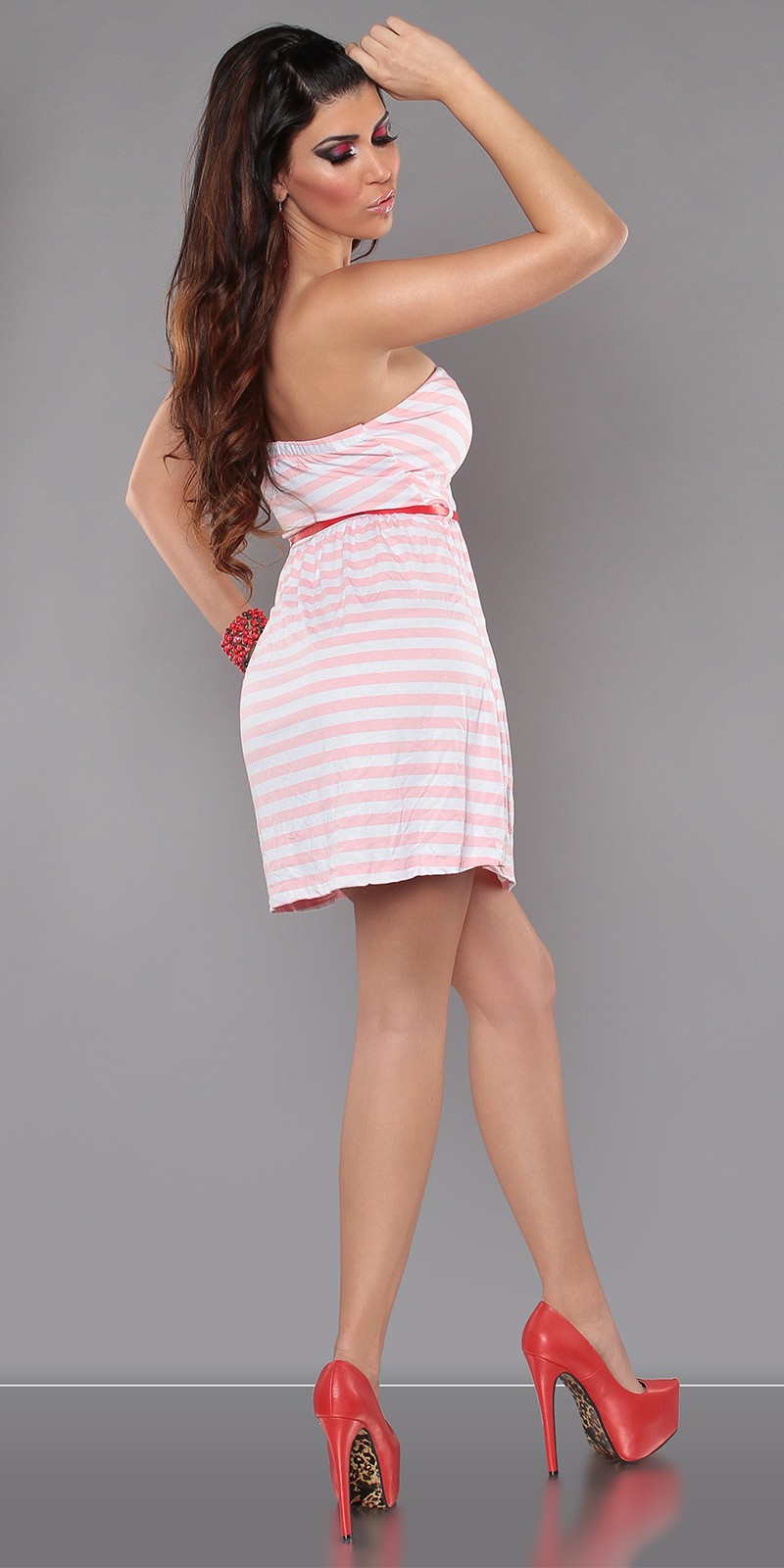Pink Strapless Striped Dress With Red Belt