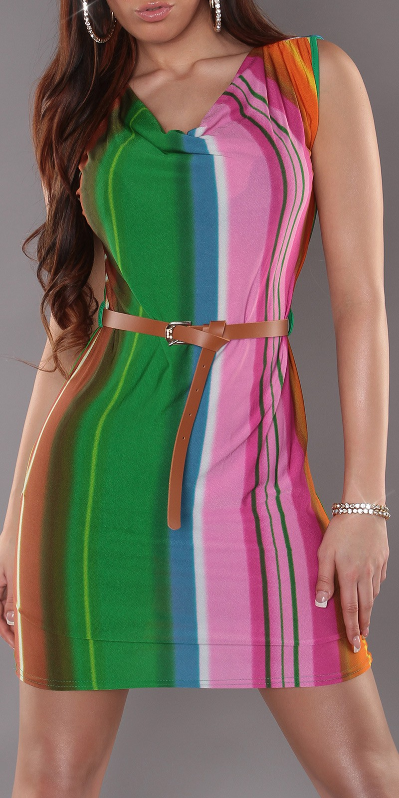Green Striped Sleeveless Dress With Belt