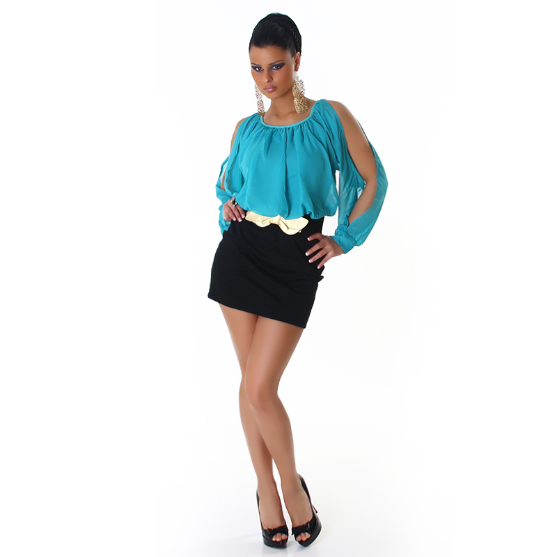 Turquoise Top Black Bottom Sleeve Cut Belted Dress