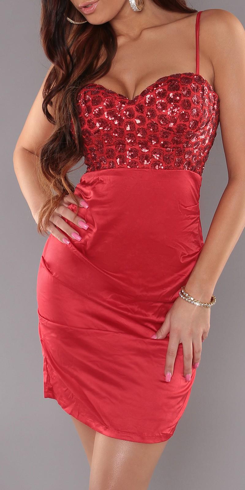 Red Sexy Cocktail Dress With Sequins