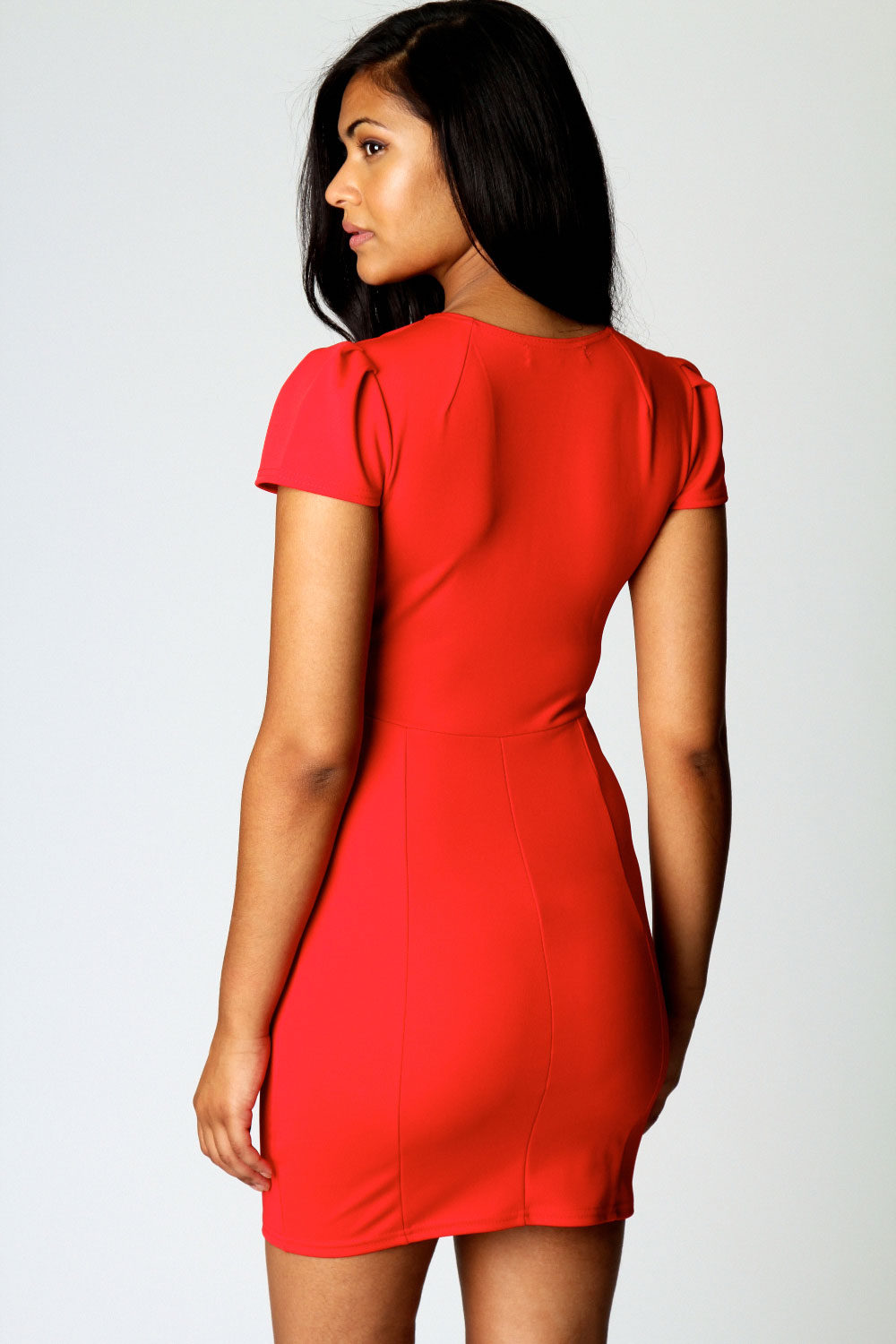 Coral Billie V Neck Cap Sleeve Bodycon Dress