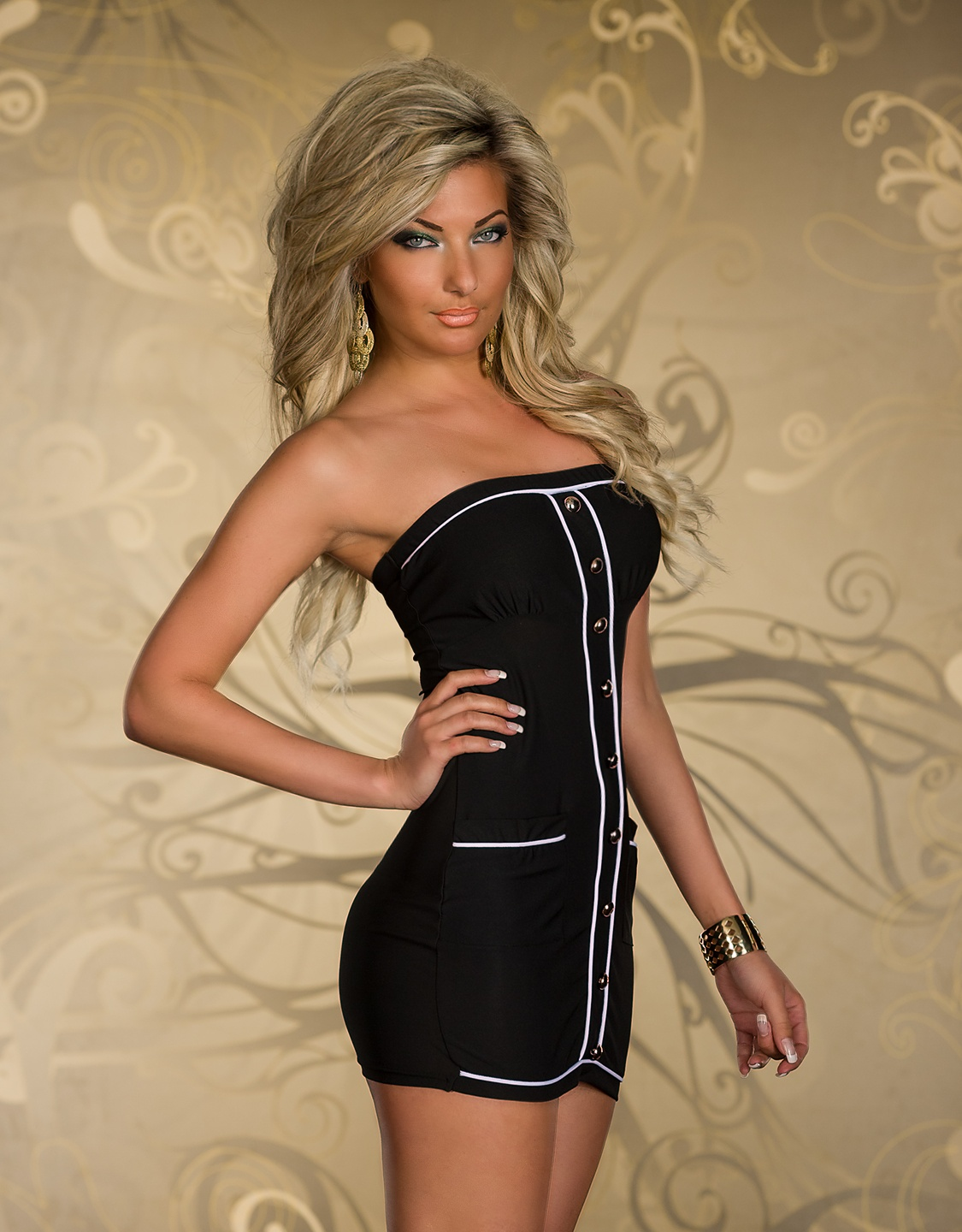 Black Strapless Dress With Buttons And White Stripes