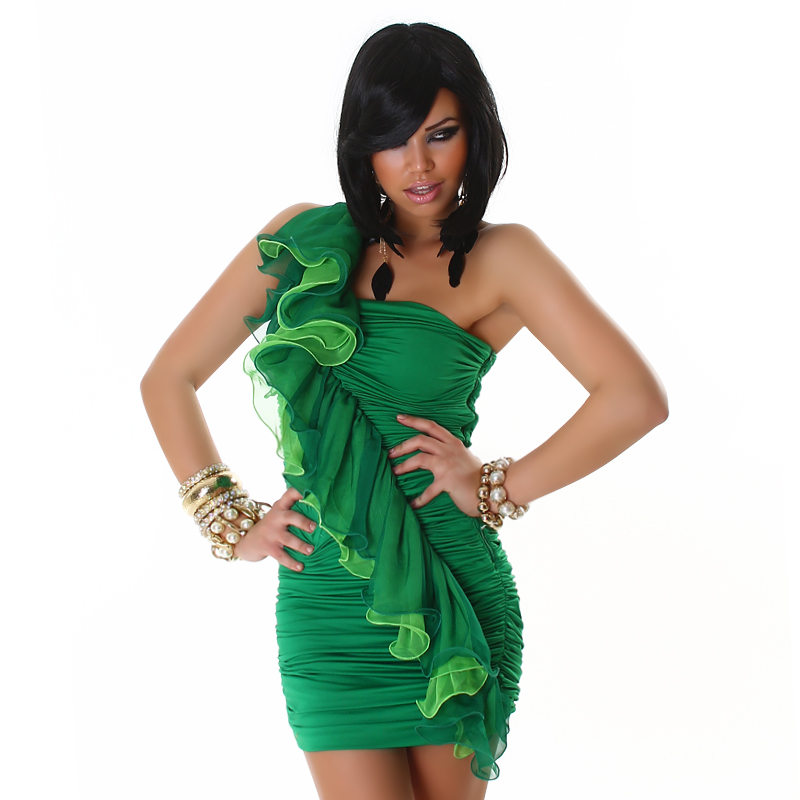 Green Dress With Diagonal Double Frill