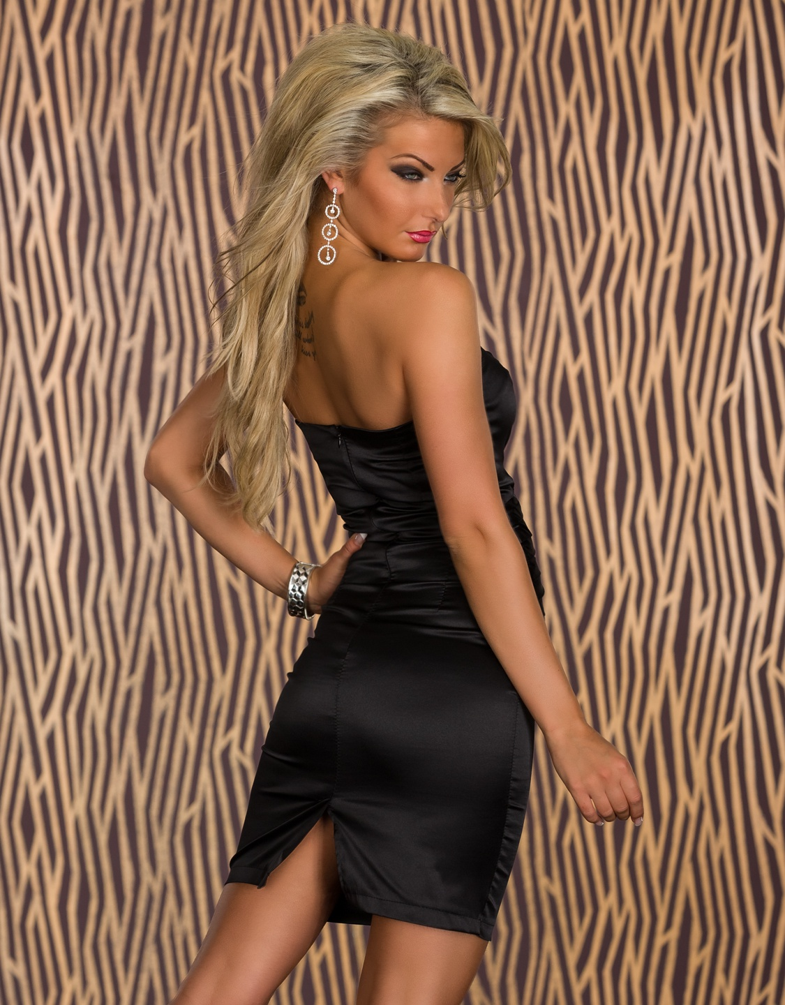 Black Strapless Woven Belly Bodycon Satin Dress