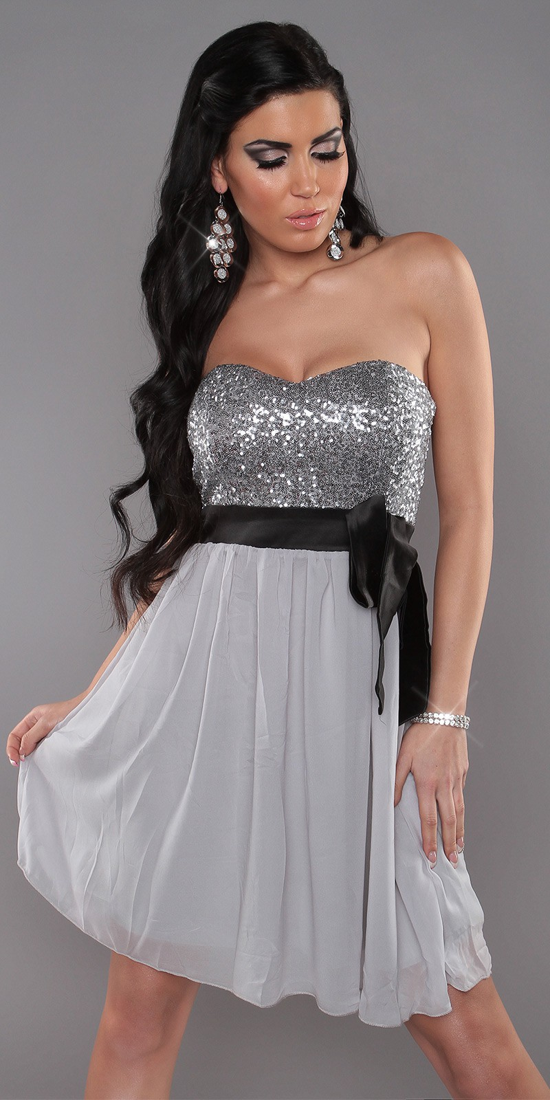 Silver Sexy Bandeau Dress With Sequins And Loop
