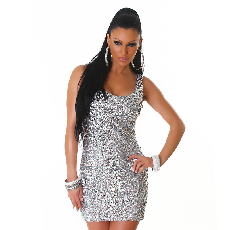 Silver Sequined Sleeveless Club Dress