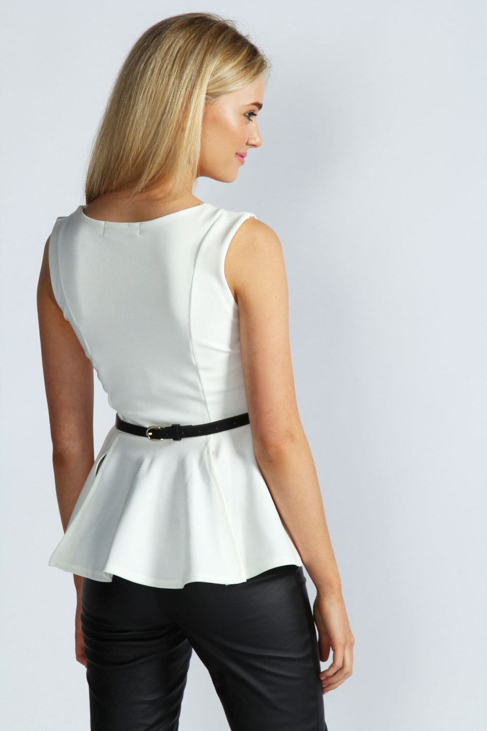 Black Claire Notch Neck Belted Peplum Top
