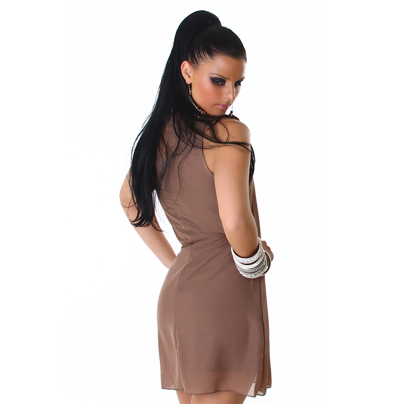 Beige Straight Dress With Decorated Collar