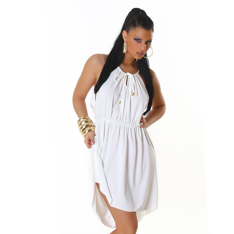 White Sleeveless Summer Sun-Dress