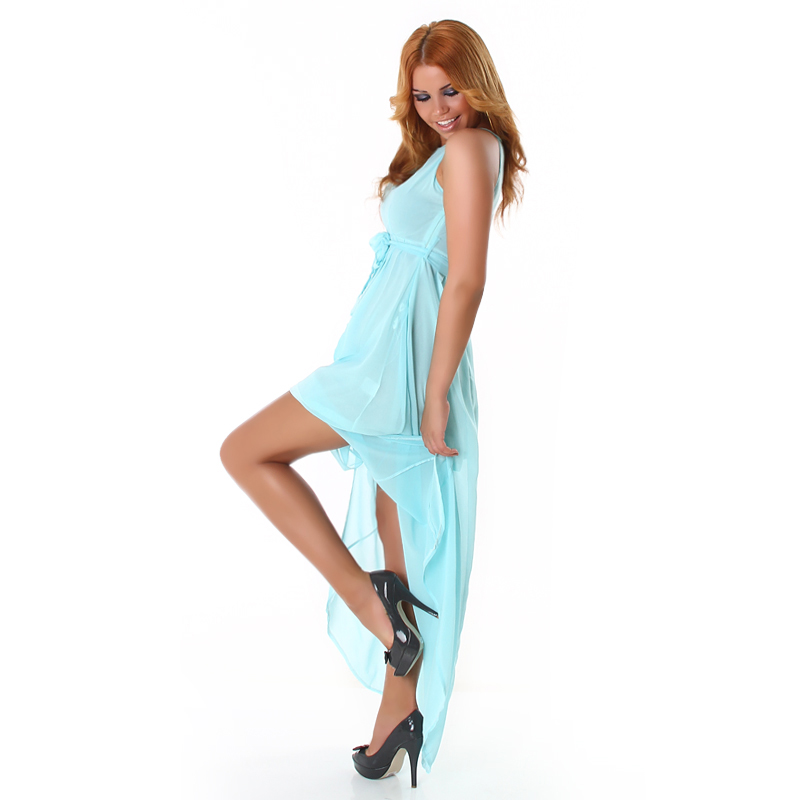 Light Blue Double Key-Hole High Low Dress