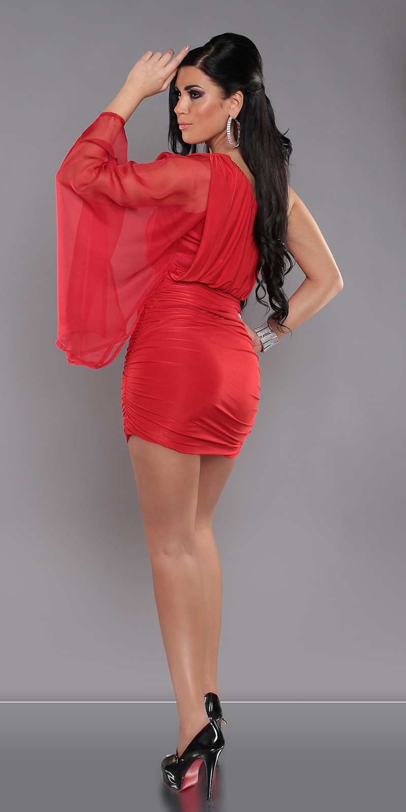 Red Sexy KouCla One-Arm Minidress