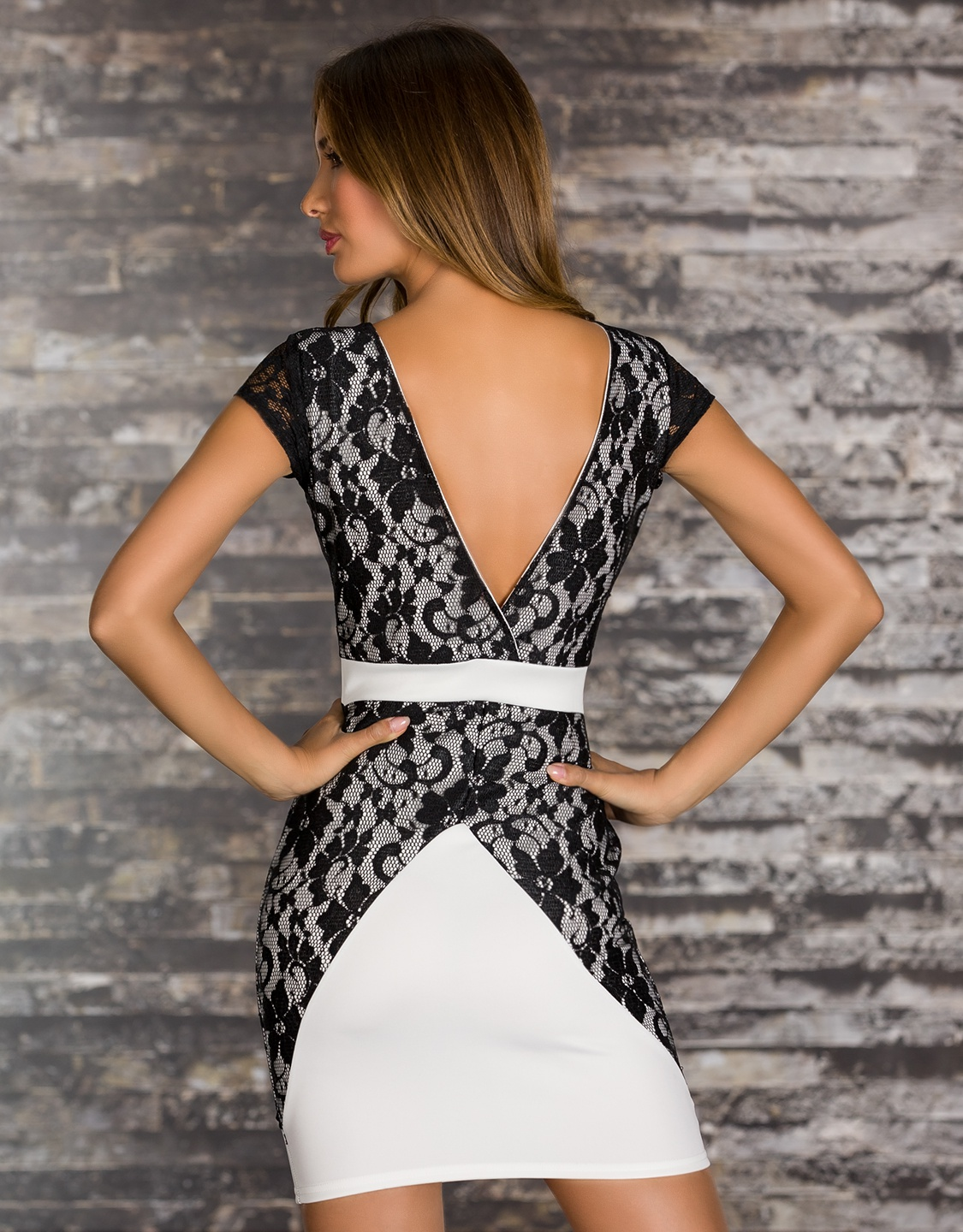 White Belted Dress With Side Black Lace Insets