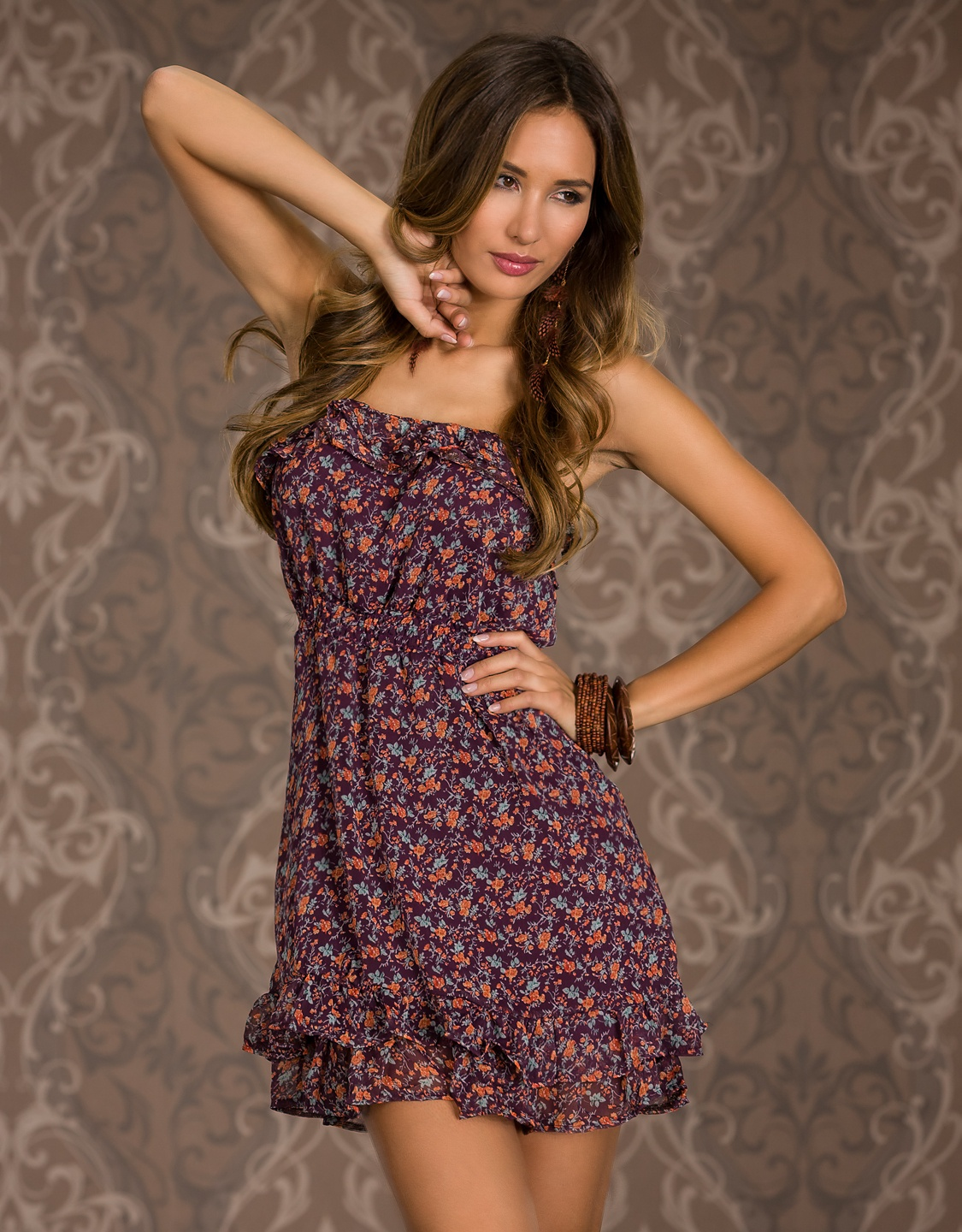 Purple Strapless Ruffled Summer Dress With Flower Print