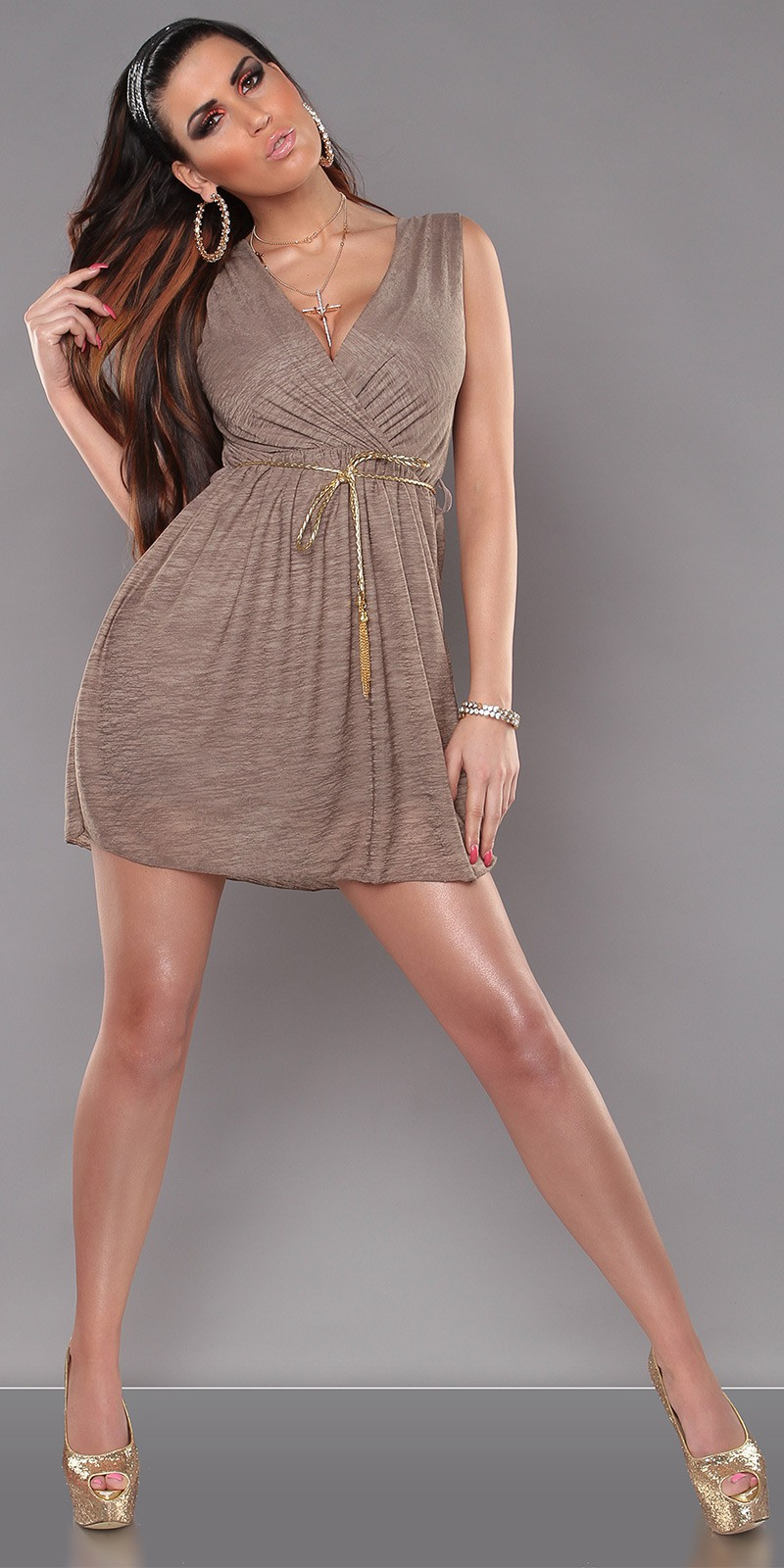 Cappuccino Sexy KouCla Minidress With V-Neck And Belt