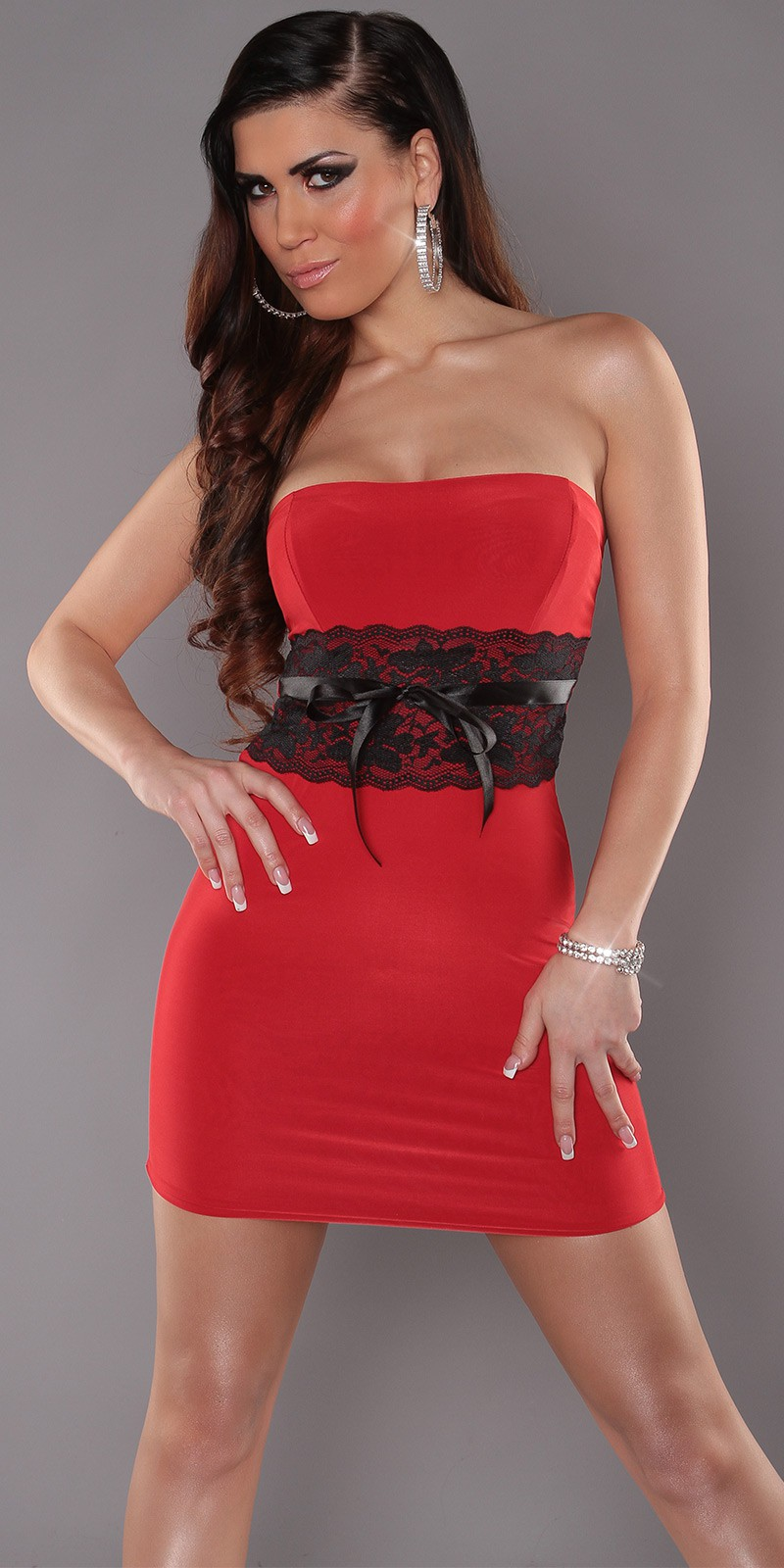 Red Sexy Strapless Dress With Lace Waistband