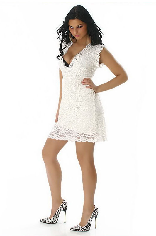 Cream Babydoll Lace Bow Dress