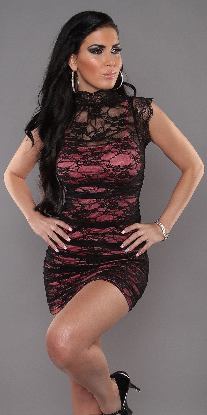 Black Coral Sexy Minidress 2in1 With Banded Collar