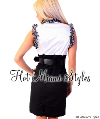Black White Ruffle Belted Pencil Dress