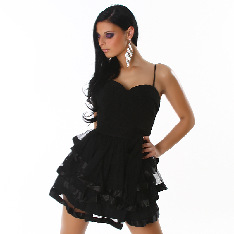 Black Spaghetti Straps Evening Dress With Puffy Skirt