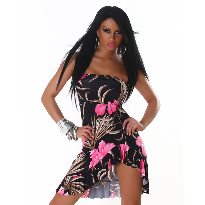 Black Strapless Ruffled Summer Dress With Pink Flowers