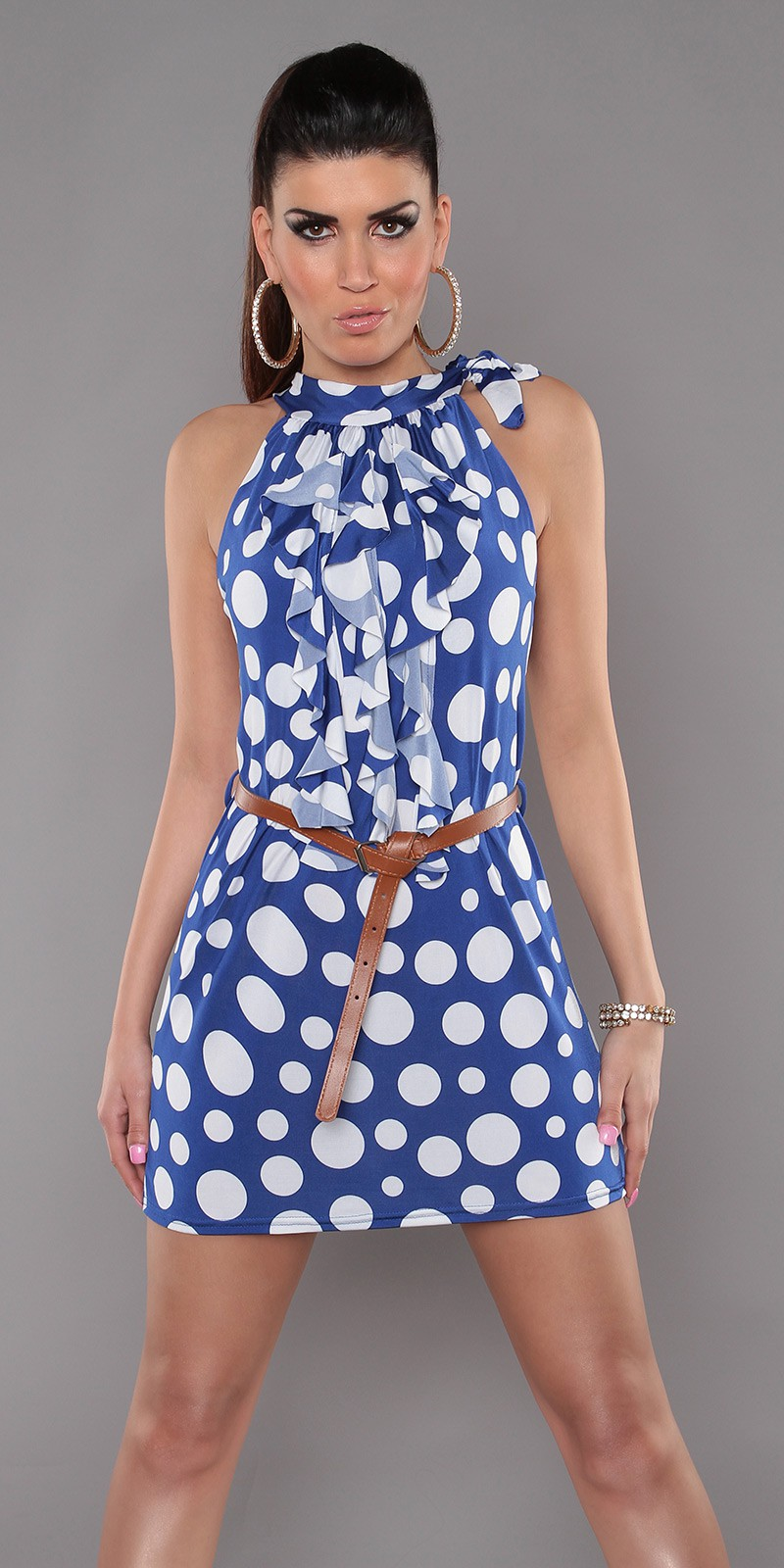 Blue Sleeveless Ruffled Polka Dot Belted Dress