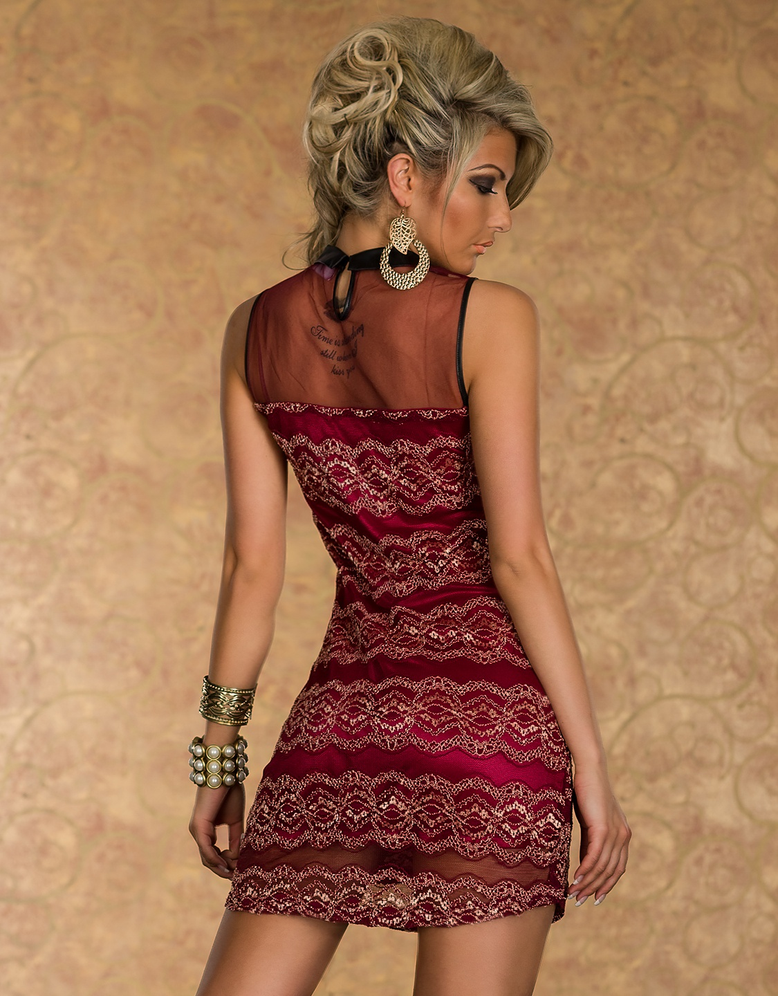 Red Lace Sleeveless Mesh Dress With Gold Collar