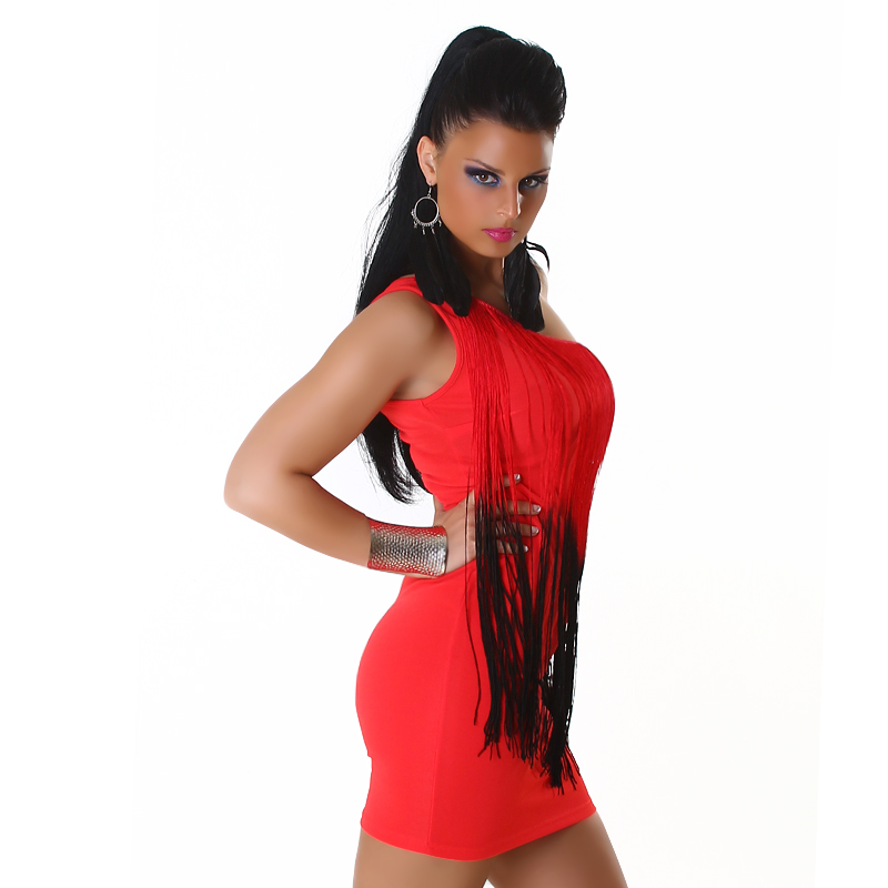 Red Two-Color One-Shoulder Fringed Club Dress
