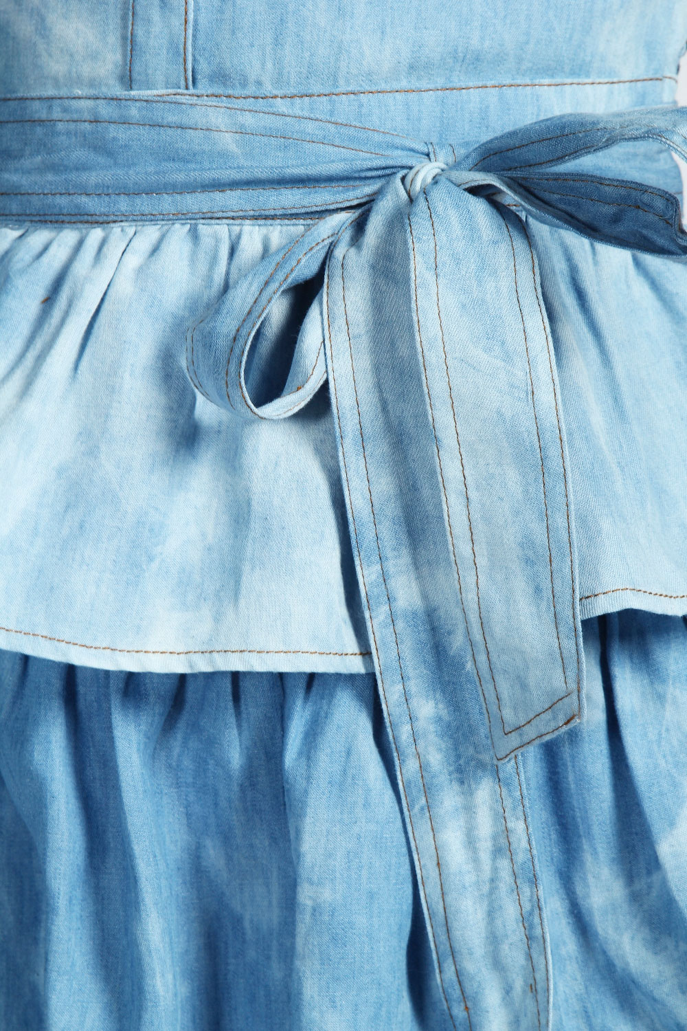 Leanne Denim Shirt Dress with Ruffle Tier Hem
