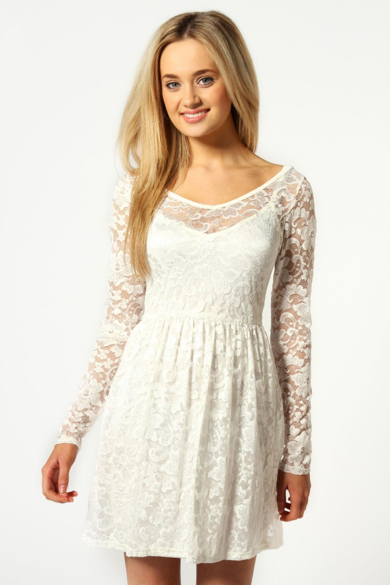 Ivory Lucy V-Neck Long Sleeve Lace Skater Dress | Короткое белое