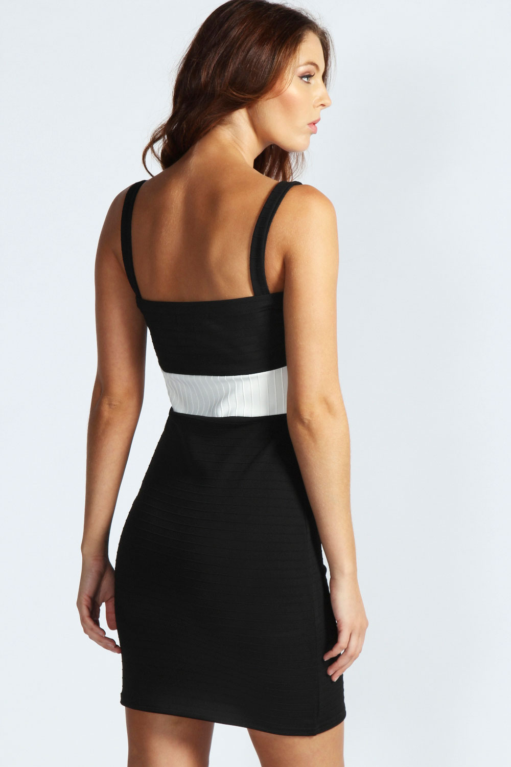 White Hayley Contrast Panel Strappy Bodycon Dress