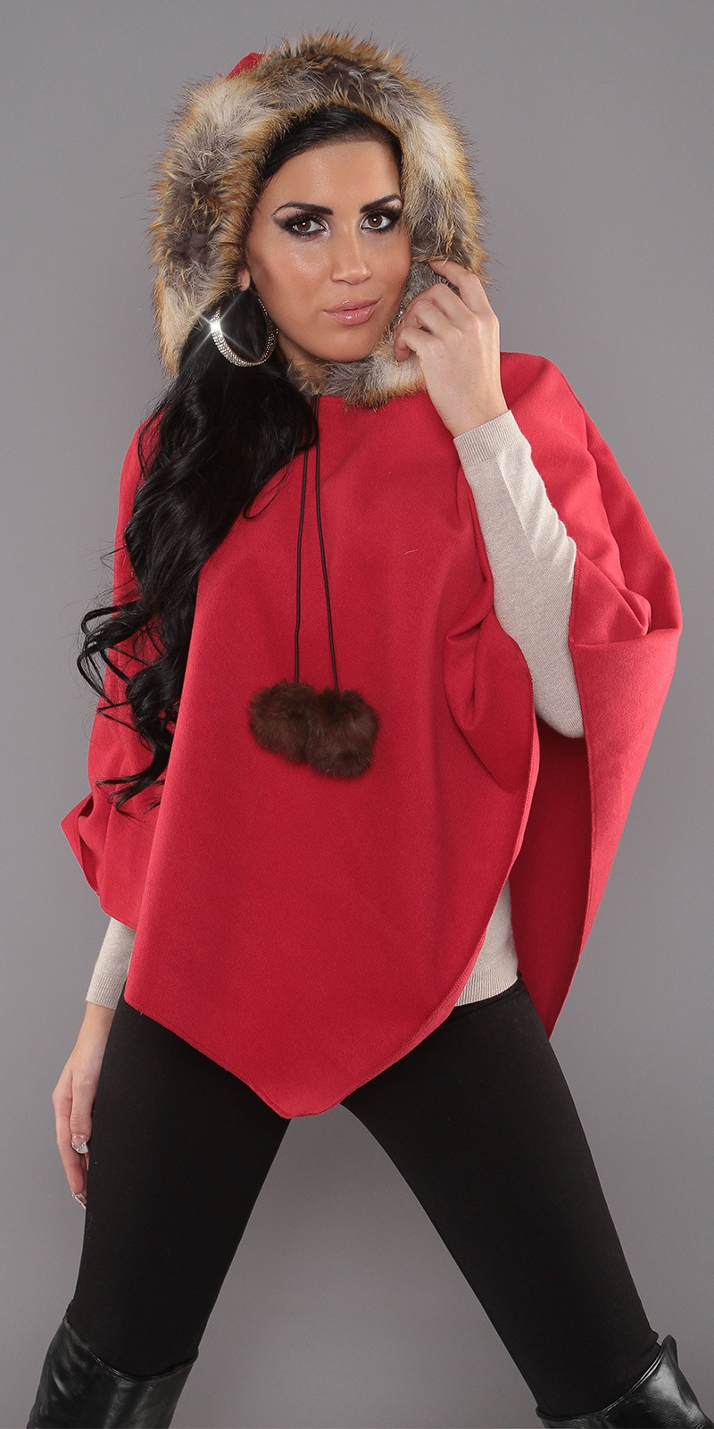 Red Trendy Poncho With Fur-Hood