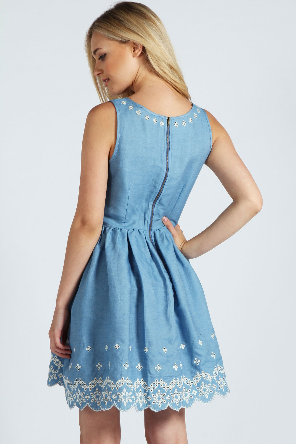 Jess Embroidered Hem Floral Denim Skirt Dress