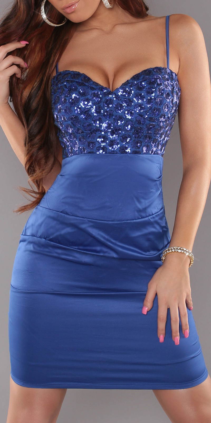 Blue Sexy Cocktail Dress With Sequins