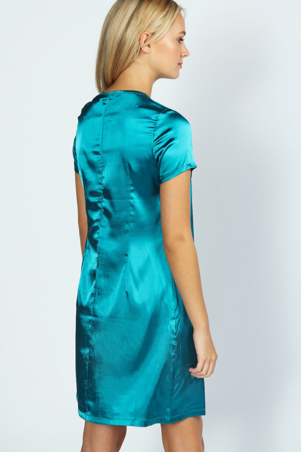 Teal Joanne Satin Detail Shift Dress