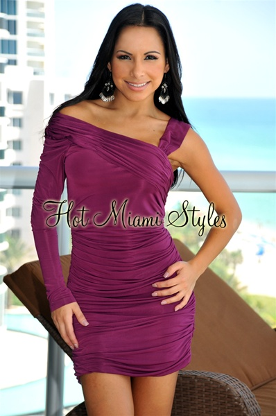 Plum One Strap One Sleeve Ruched Dress