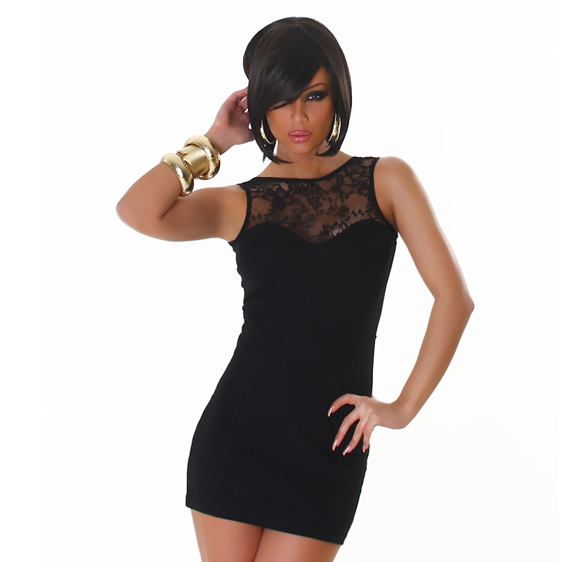Black Lace Back Zipper Dress
