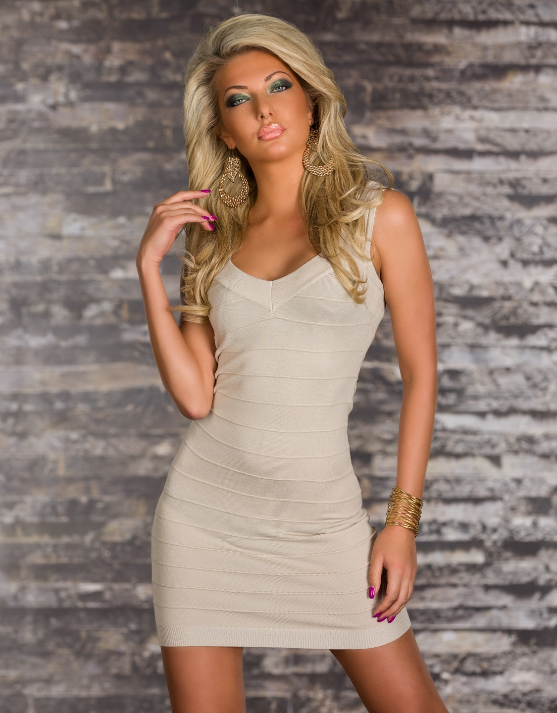 Cream Bodycon Short Bandage Dress With Short Sleeves