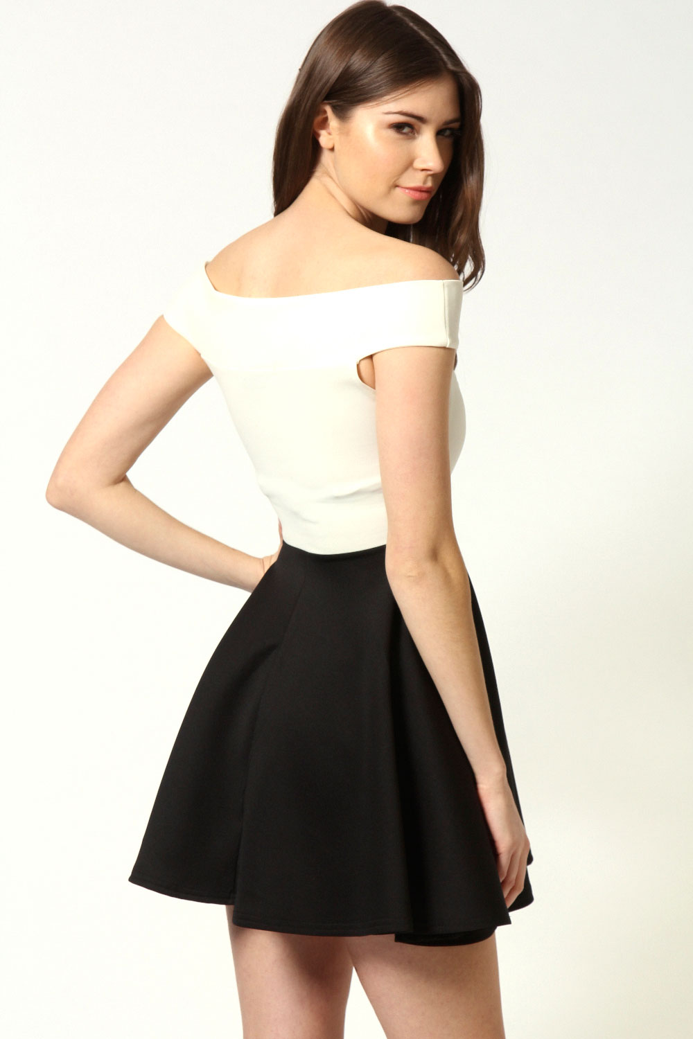 Ivory Kylie Contrast Colour Off The Shoulder Skater Dress