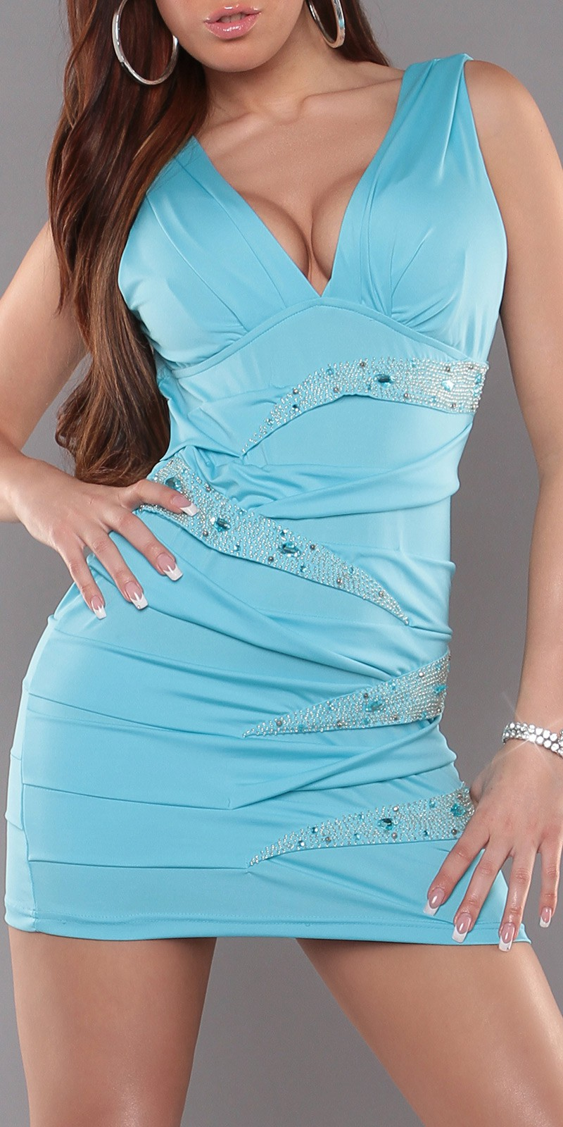 Turquoise V-Neck Pleated Rhinestone Insets Dress