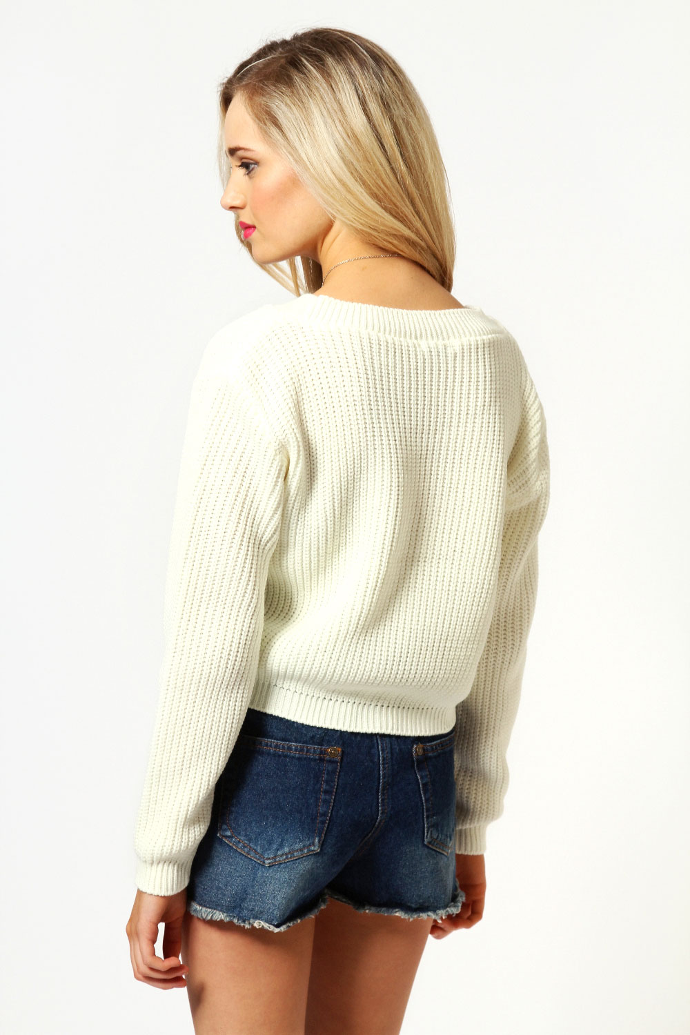 Cream Lydia Crop Knit Jumper