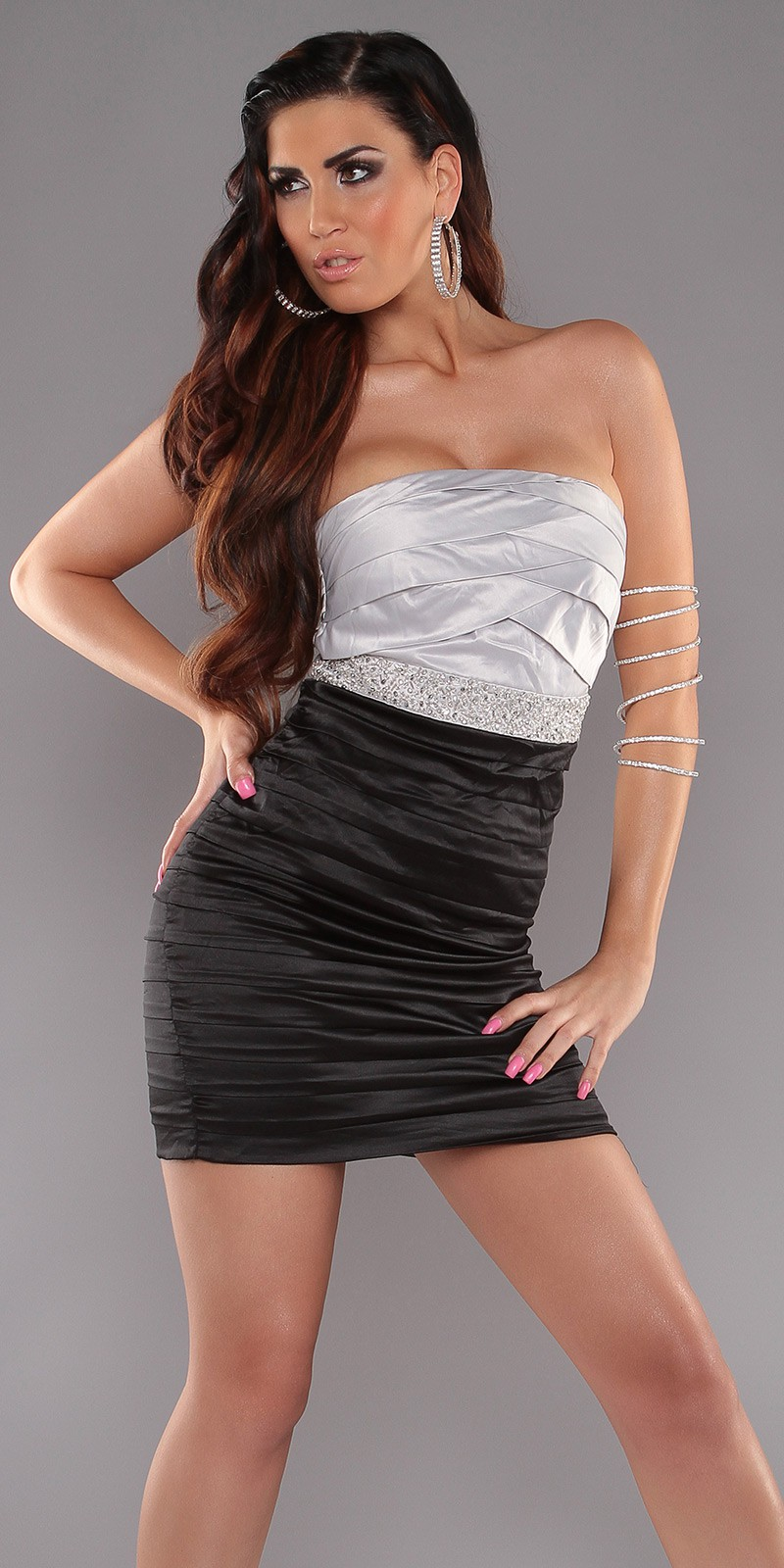 Black-Silver Sexy Pleated Dress With Sequins