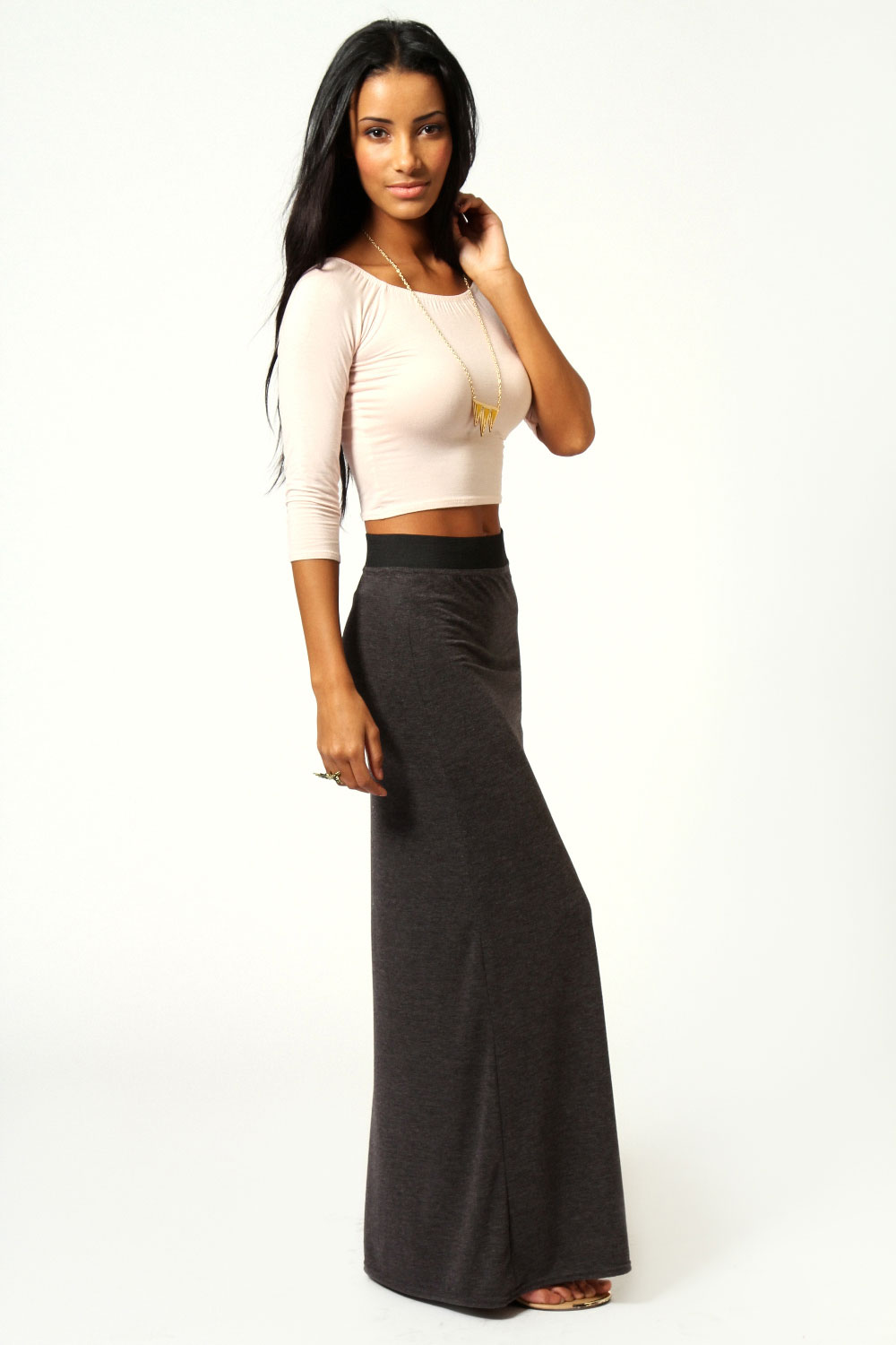 Orange Helena Contrast Waistband Jersey Maxi Skirt