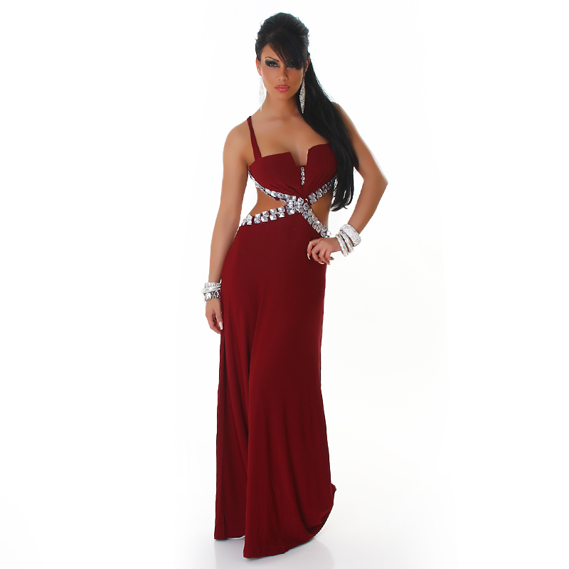 Vine Naked Back Rninestoned Long Evening Dress