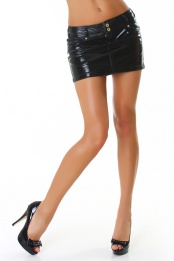 Sexy Black Faux Leather Mini Skirt