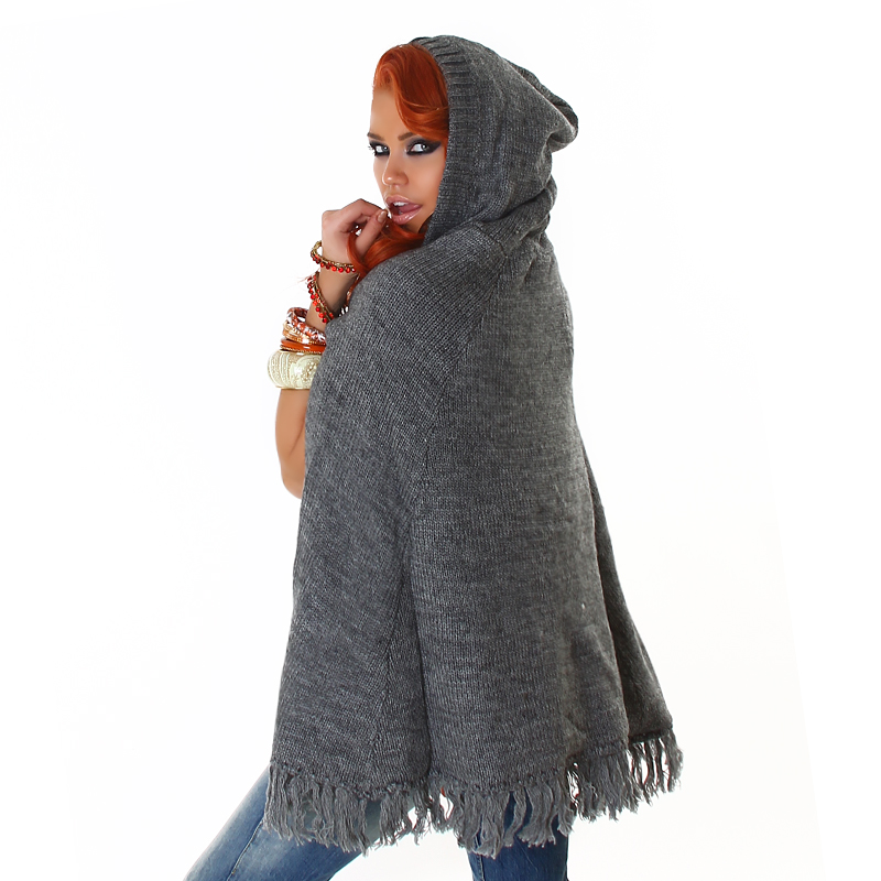 Grey Knit Hoody Poncho With Fringe
